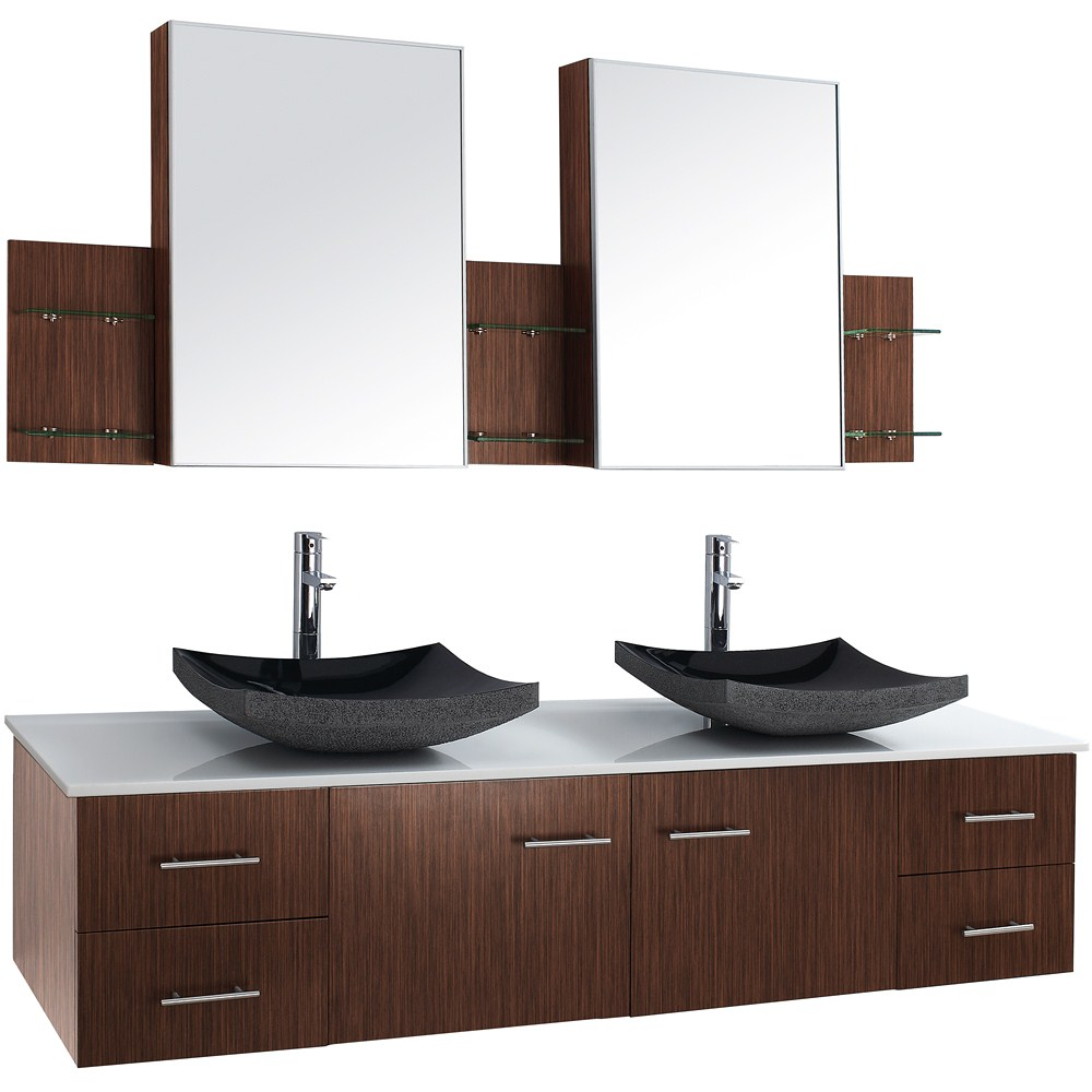 Bianca 72 Wall Mounted Double Bathroom Vanity Zebrawood Free Shipping Modern