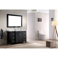 "Ariel Hollandale 49"" Single Sink Vanity Set with Carrera White Marble Countertop - Black E049S-BLK"