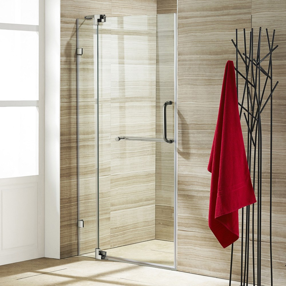 "VIGO 42-inch Frameless Shower Door 3/8"" Clear Glassnohtin Sale $890.99 SKU: VG6042-42-Frameless :"