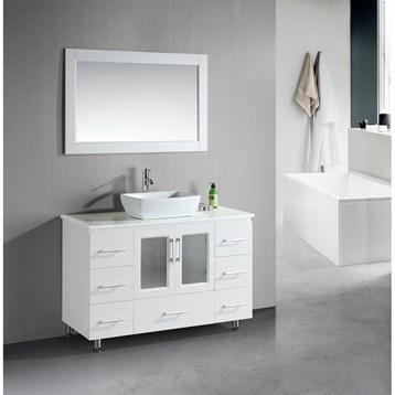 "Design Element Stanton 48"" Single Sink Vanity Set with Vessel Sink, White B48-VS-W by Design Element"