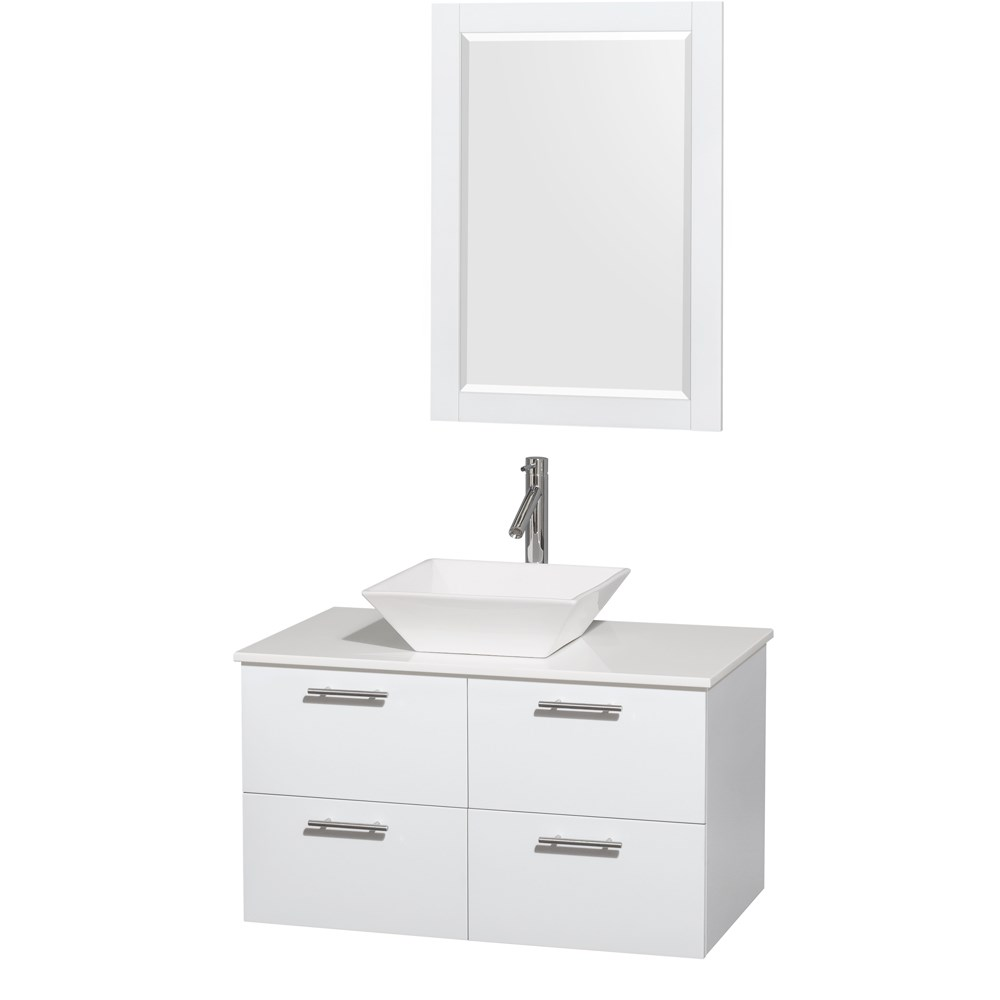 Amare 36 inch Wall Mounted Bathroom Vanity Set with Vessel Sink by Wyndham Collection Glossy White