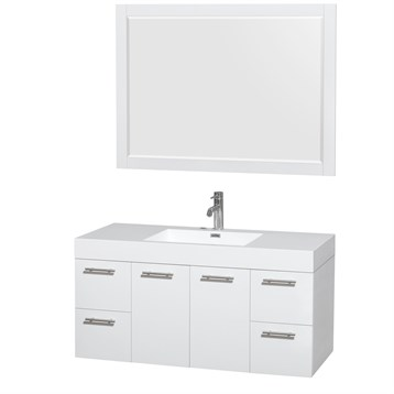 """Amare 48"""" Wall-Mounted Bathroom Vanity Set with Integrated Sink by Wyndham Collection, Glossy White... by Wyndham Collection®"""
