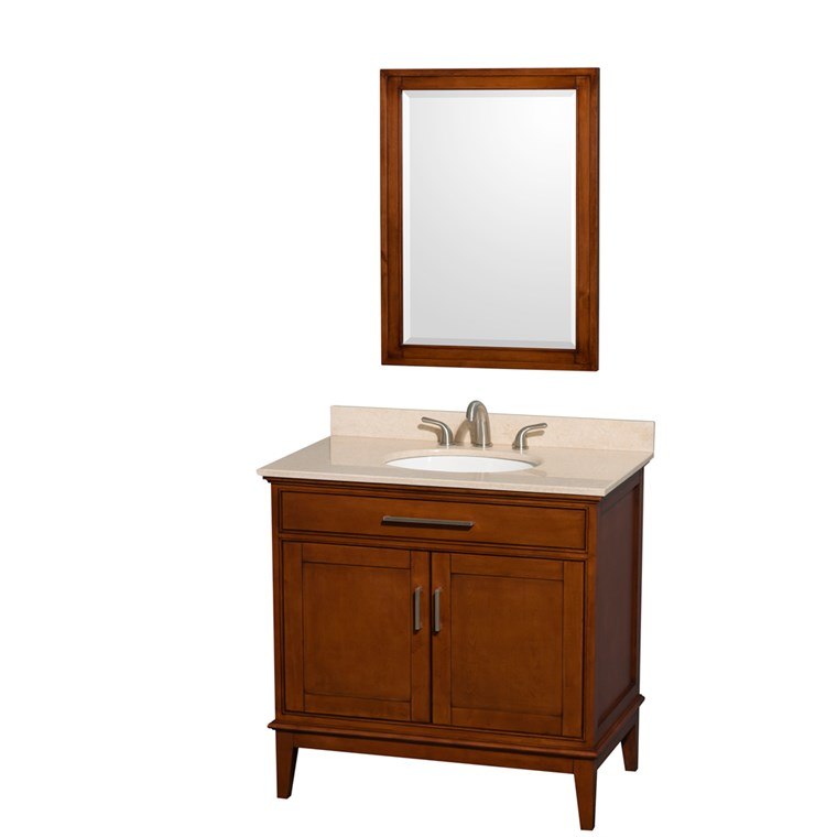 "Hatton 36"" Single Bathroom Vanity by Wyndham Collection - Light Chestnut WC-1616-36-SGL-VAN-CLT"