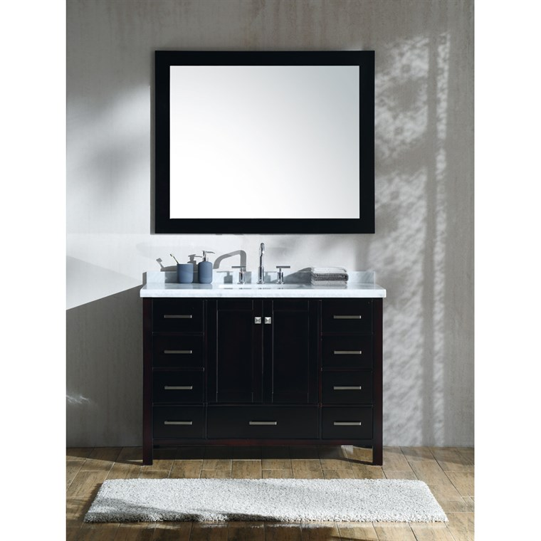 "Ariel Cambridge 49"" Single Sink Vanity Set with Rectangle Sink and Carrara White Marble Countertop - Espresso A049S-CWR-ESP"