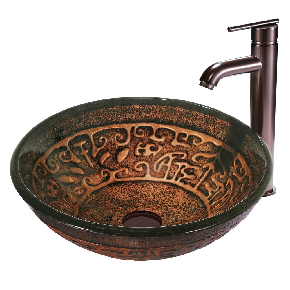 VIGO Golden Greek Glass Vessel Sink and Faucet Set in Oil Rubbed Bronze VGT127