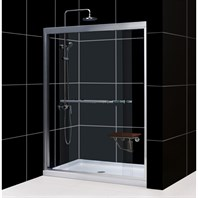 "Bath Authority DreamLine Duet Frameless Bypass Sliding Shower Door and SlimLine Single Threshold Shower Base (34"" by 60"") DL-6952"