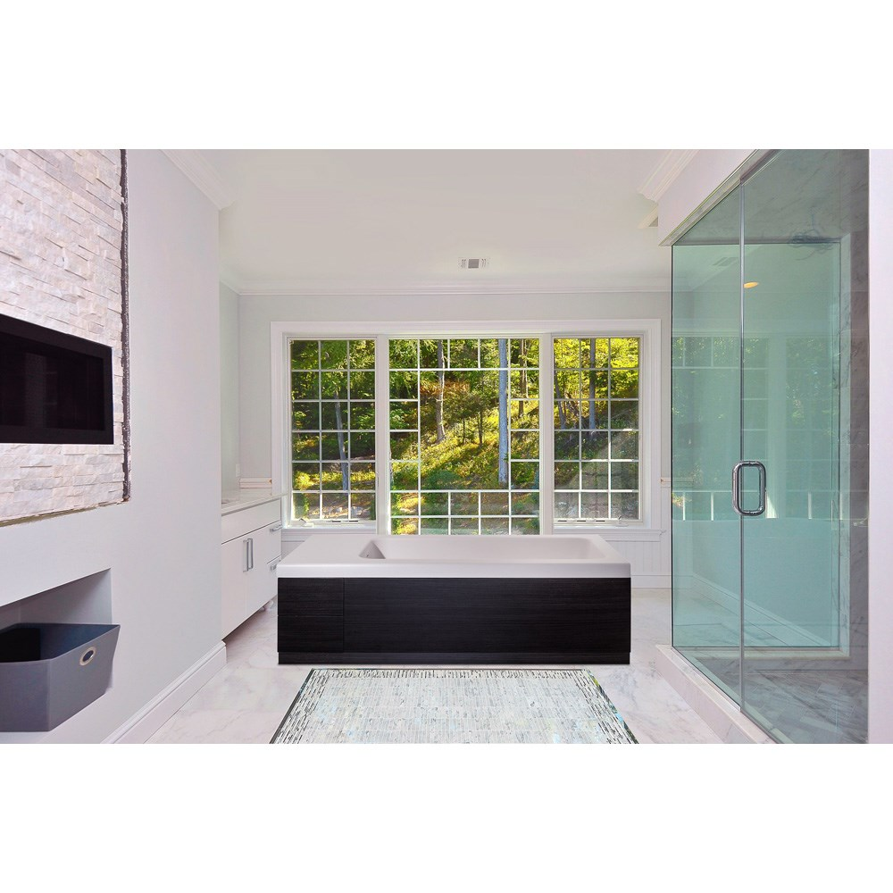 Aquatica Pure 2D Back To Wall Solid Surface Bathtub with Dark Decorative Wooden Side Panels - White and Dark Woodnohtin Sale $5382.00 SKU: Aquatica Pure-2-Wht-DOak :