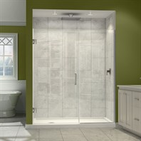 "DreamLine Unidoor Plus 37"" to 45"" W x 72"" H Hinged Shower Door With Stationary Panel SHDR-244XX7210"