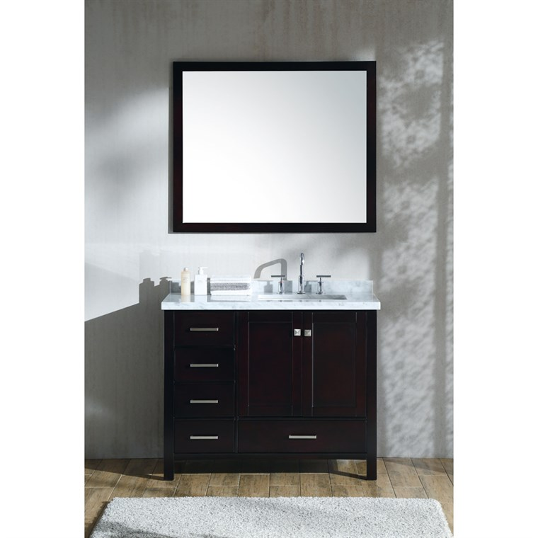 "Ariel Cambridge 43"" Single Sink Vanity Set with Right Offset Rectangle Sink and Carrara White Marble Countertop - Espresso A043S-R-CWR-ESP"