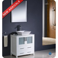 "Fresca Torino 30"" White Modern Bathroom Vanity with Vessel Sink FVN6230WH-VSL"