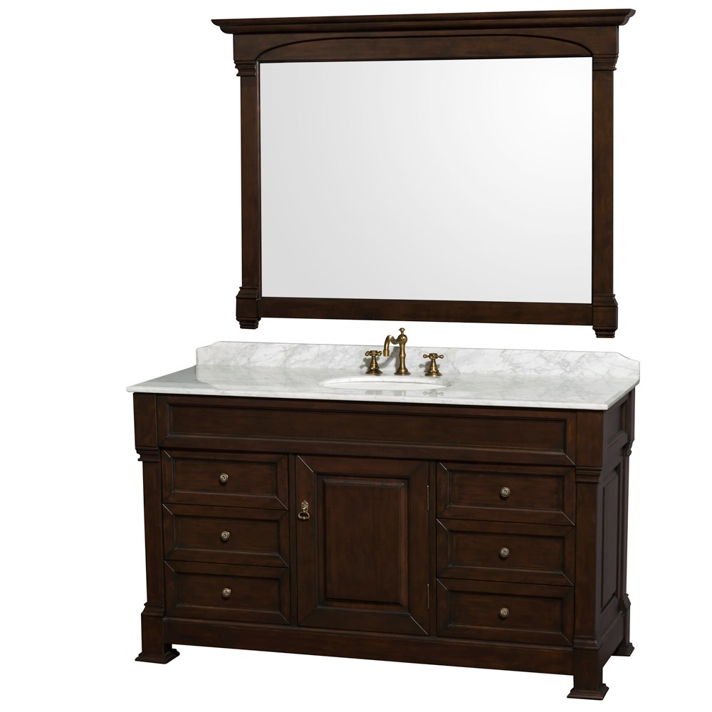 "Andover 60"" Traditional Bathroom Single Vanity Set by Wyndham Collection - Dark Cherry WC-TS60-SGL-VAN-DCH"