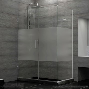 "DreamLine Unidoor Plus 37 to 44-1/2"" W x 34-3/8"" D x 72"" H Hinged Shower Enclosure, Half Frosted Glass... by Bath Authority DreamLine"