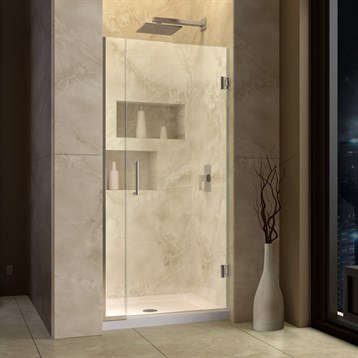 "DreamLine Unidoor Plus 29"" to 37"" W x 72"" H Hinged Shower Door With Stationary Panel SHDR-243XX7210 by Bath Authority DreamLine"