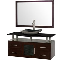 "Accara 48"" Wall Mounted Bathroom Vanity with Drawers - Espresso w/ Black Granite Counter B706-WM-48-ESP-BLK"