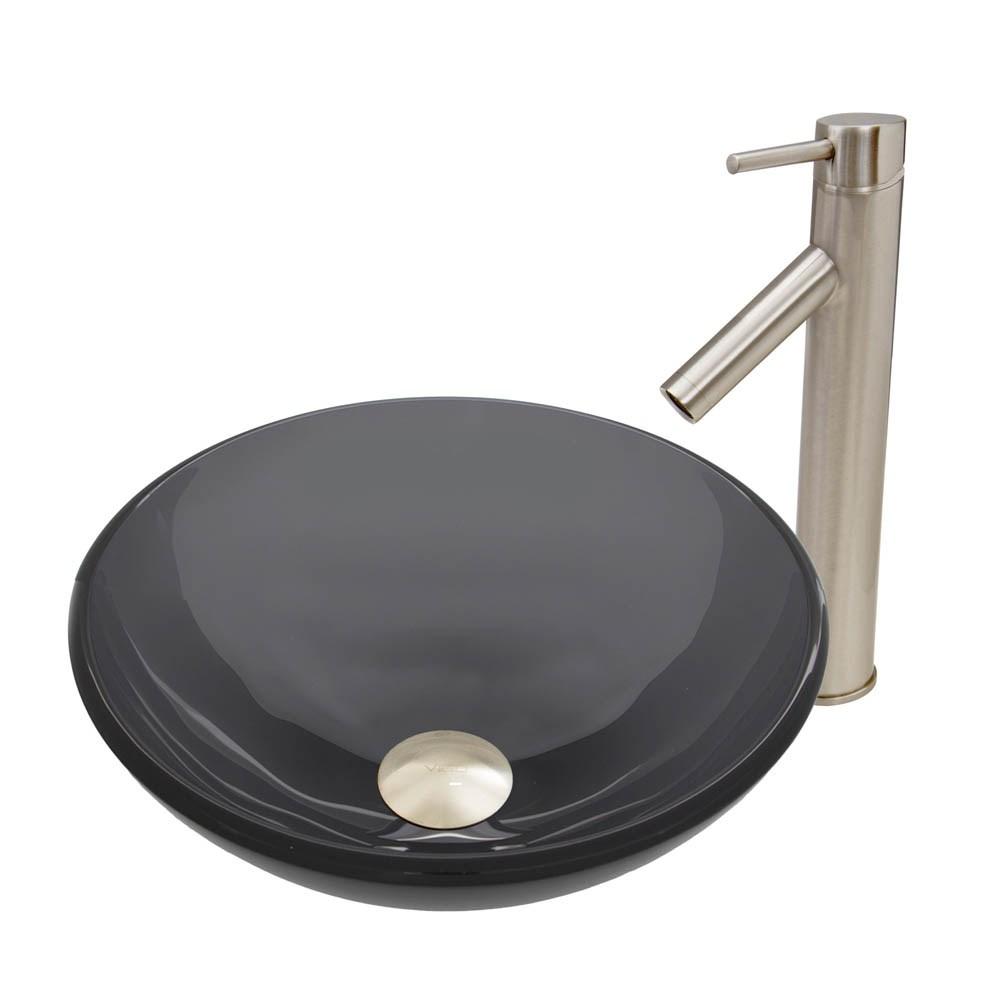 VIGO Sheer Black Glass Vessel Sink and Dior Faucet Set in Brushed Nickel Finishnohtin Sale $215.90 SKU: VGT458 :