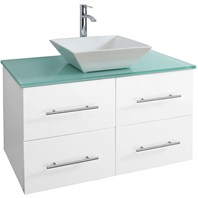 "Bianca 36"" Wall-Mounted Modern Bathroom Vanity - White WHE007-36-WHT"