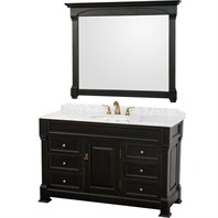 "Andover 55"" Traditional Bathroom Vanity Set by Wyndham Collection - Black WC-TS55-BLK"