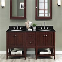 "Fairmont Designs Shaker Americana 60"" Vanity - Open Shelf - Habana Cherry 1513-VH24-X2, 1513-DB12-H-"