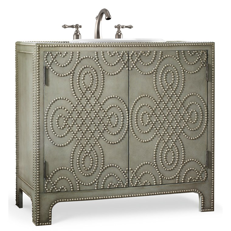 "Cole & Co. 36"" Designer Series Bridgette Vanity Chest - Dove Grey Weathered Leather 11.22.275536.59"