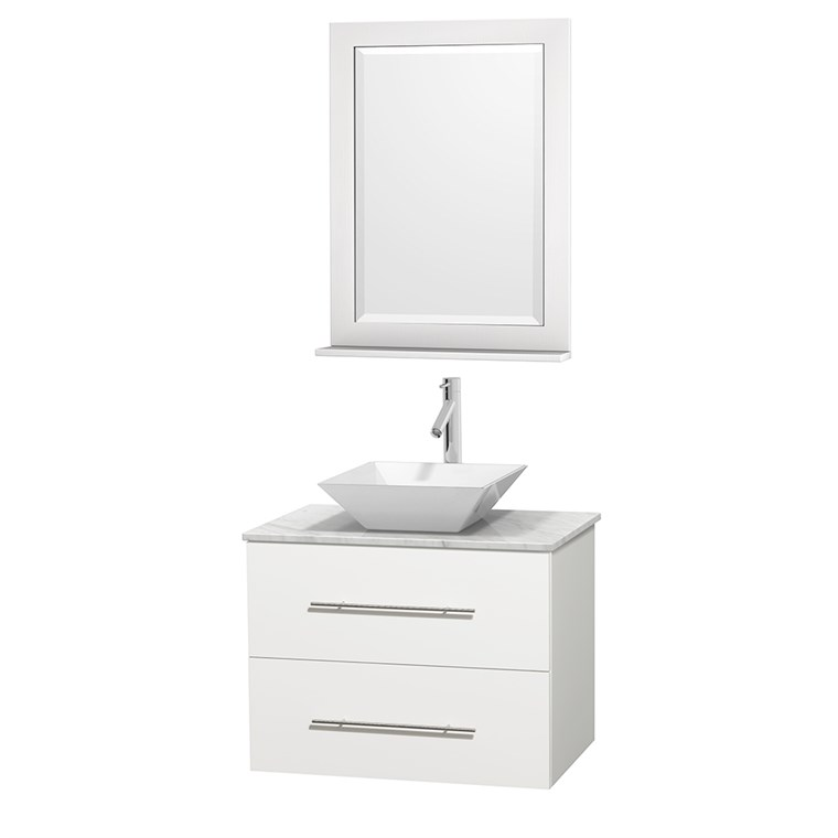 "Centra 30"" Single Bathroom Vanity for Vessel Sink by Wyndham Collection - Matte White WC-WHE009-30-SGL-VAN-WHT_"