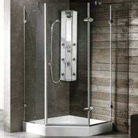 "Vigo Industries Frameless Neo-Angle Shower Enclosure - 38"" x 38"", Clear VG6061CL-38-38"