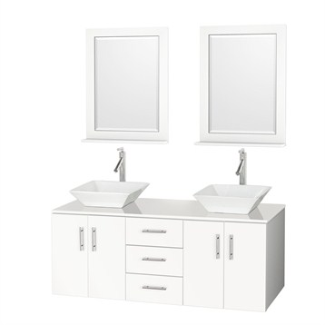"""Arrano 55"""" Double Bathroom Vanity, White with Vessel Sinks B400-55-DOUBLE-VANITY-WHITE by Wyndham Collection®"""