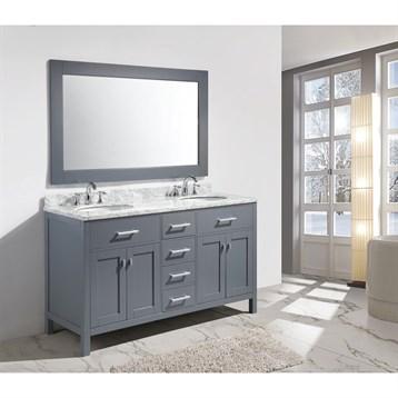 """Design Element London 61"""" Double Sink Vanity Set, Gray DEC076A-G by Design Element"""