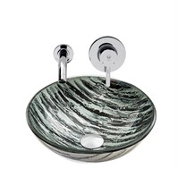 VIGO Rising Moon Glass Vessel Sink and Olus Wall Mount Faucet Set in Chrome VGT833
