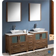 "Fresca Torino 72"" Walnut Brown Modern Double Sink Bathroom Vanity with Side Cabinet, Vessel Sinks, and Mirrors FVN62-301230WB-VSL"