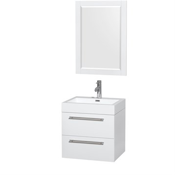 "Amare 24"" Wall-Mounted Bathroom Vanity Set with Integrated Sink by Wyndham Collection, Glossy White... by Wyndham Collection®"