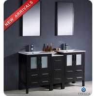 "Fresca Torino 60"" Espresso Modern Double Sink Bathroom Vanity with Side Cabinet & Integrated Sinks FVN62-241224ES-UNS"