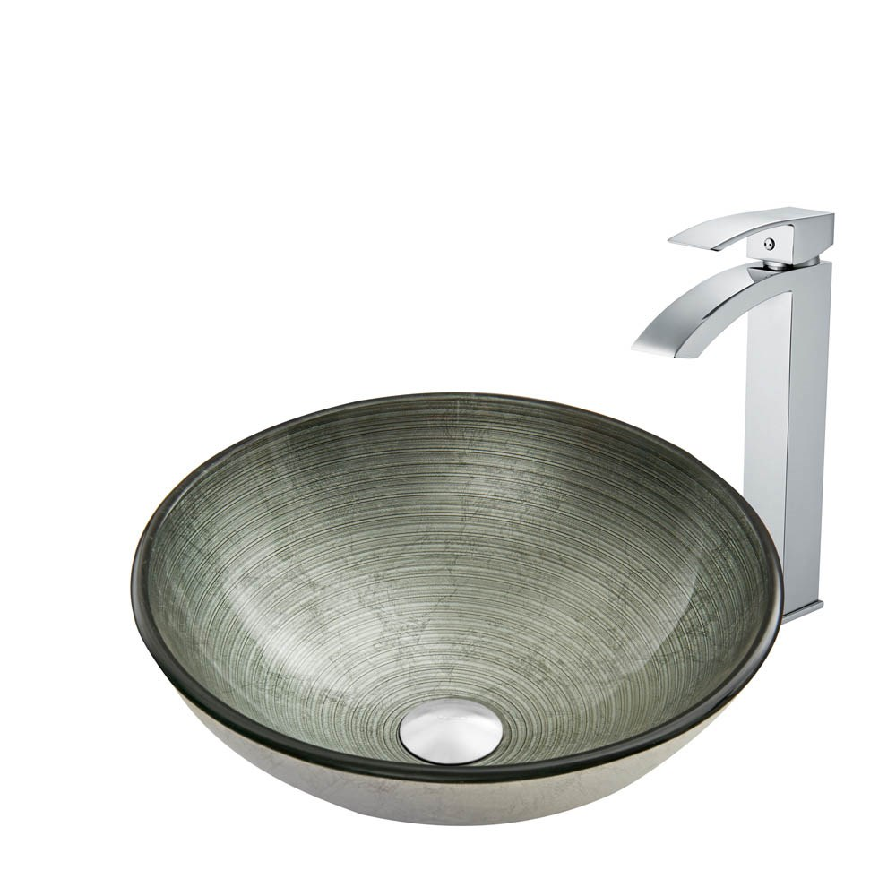VIGO Simply Silver Glass Vessel Sink and Duris Faucet Setnohtin Sale $245.90 SKU: VGT836- :