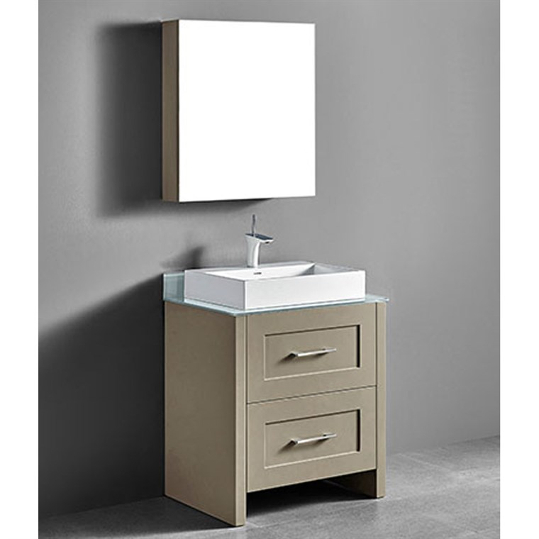 "Madeli Retro 30"" Bathroom Vanity for Glass Counter and Porcelain Basin - Cashmere B700-30-001-CM-GLASS"