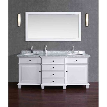 "Stufurhome Cadence White 72"" Double Sink Bathroom Vanity with Mirror, White HD-7000W-72-CR by Stufurhome"