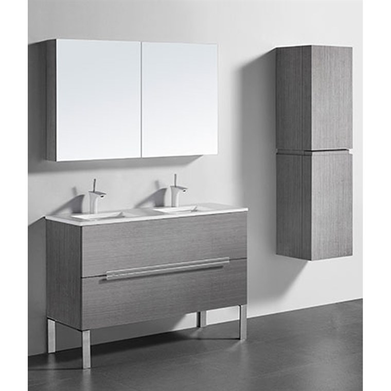 "Madeli Soho 48"" Double Bathroom Vanity for Quartzstone Top - Ash Grey B400-48D-001-AG-QUARTZ"