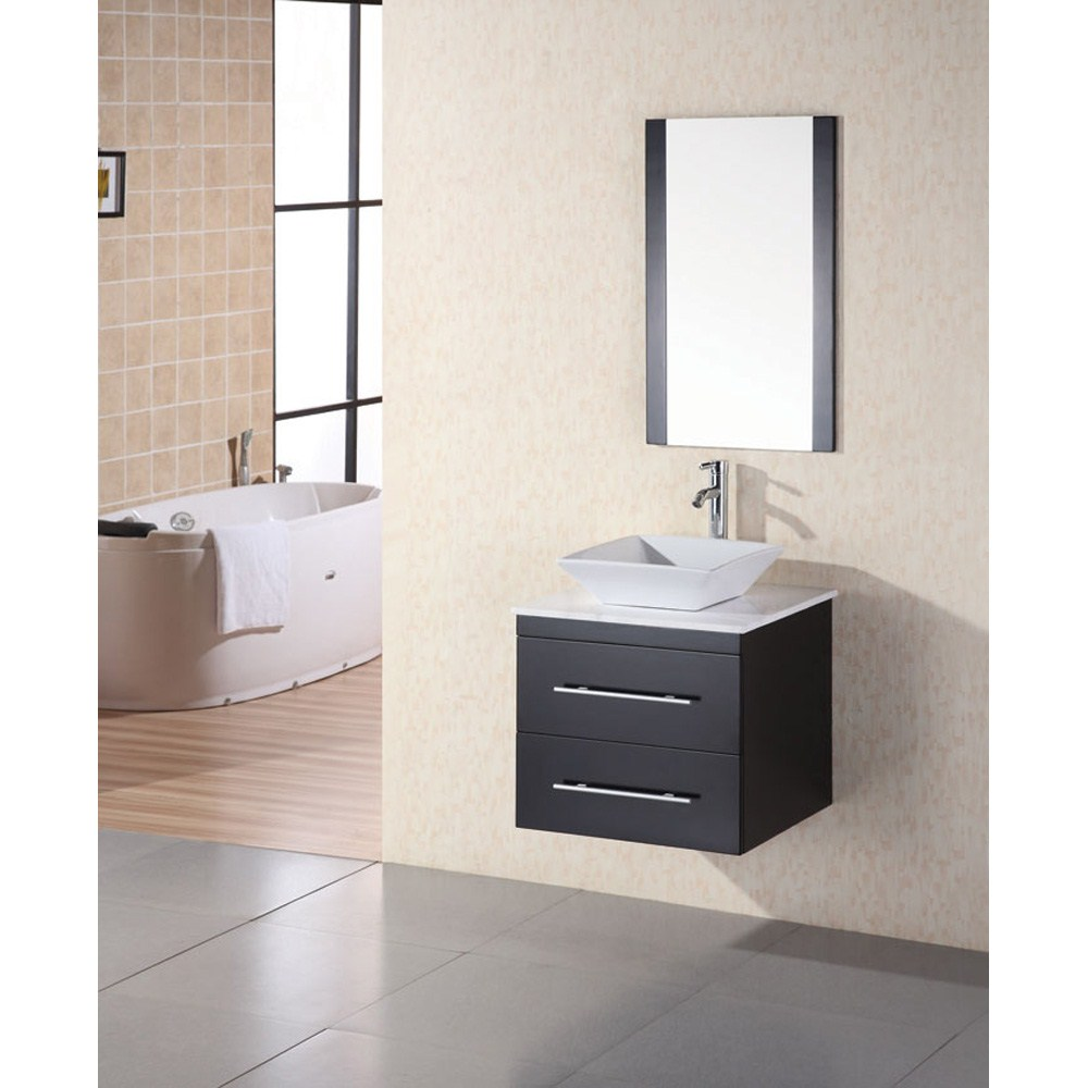 "Image of Design Element Elton 24"" Single Sink Vanity Set w/ White Stone Countertop - Espresso"