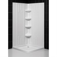 "Bath Authority DreamLine SlimLine Double Threshold Shower Base and QWALL-2 Shower Backwalls Kit (32"" by 32"") DL-6137-01"
