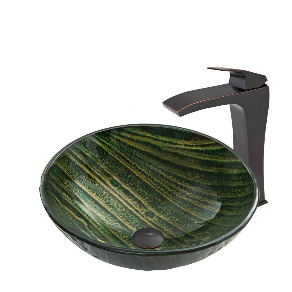 VIGO Green Asteroid Glass Vessel Sink and Blackstonian Faucet Set in Antique Rubbed Bronze Finishnohtin Sale $255.90 SKU: VGT638 :