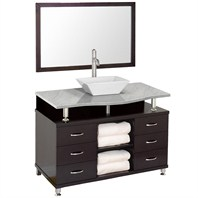 "Accara II 48"" Bathroom Vanity with Drawers - Espresso w/ White Carrera Marble Counter B706T-48-ESP-WHTCAR"