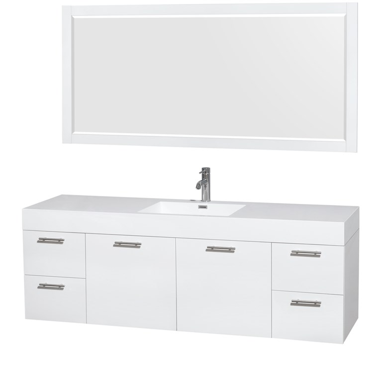 "Amare 72"" Wall-Mounted Single Bathroom Vanity Set with Integrated Sink by Wyndham Collection - Glossy White WC-R4100-72-VAN-WHT-SGL"