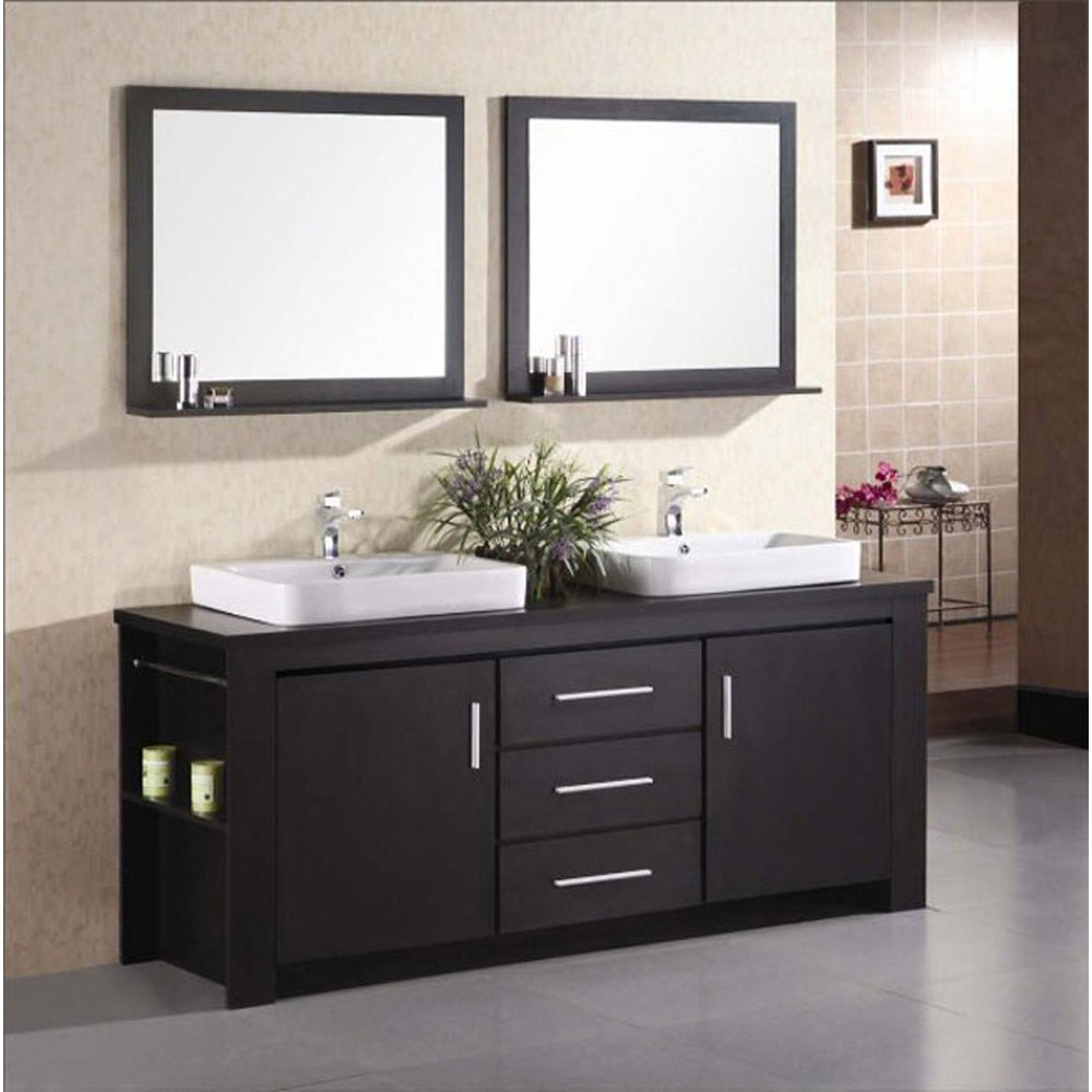 """The 72"""" Washington Vanity is stylishly constructed of solid veneer panels. The designer flat vessel drop in sinks and sleek cabinetry bring style and utility to any bathroom. The sinks rectangular round corner design beautifully contrast with the cabinets sleek lines and espresso finish. This vanity includes side storage, two large soft closing cabinets and three center drawers adorned with satin nickel hardware. Included are two espresso framed mirrors with shelf. The Washington Bathroom Vanity is designed as a center piece to awe-inspire the eye without sacrificing quality, functionality or durability.  Features Solid veneer panelsEspresso finishWater resistant counter topsTwo porcelain drop in sinks with overflow drain Faucet(s) not includedTwo chrome pop up drainsTwo espresso framed mirrors with shelfTwo side shelves and towel barsTwo soft closing cabinets and three drawersSatin nickel finish hardwareManufacturer provides 1 yea"""