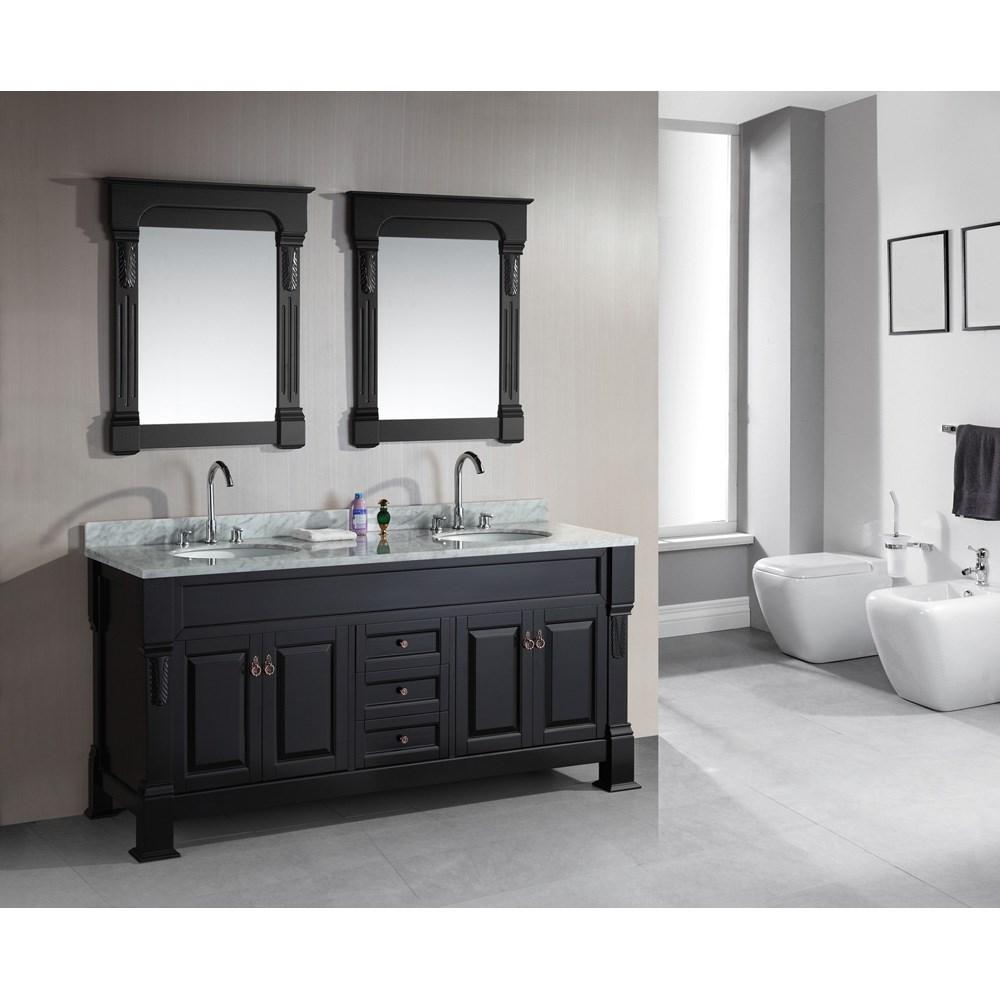 "Design Element Marcos 72"" Double Sink Vanity Set with Carrara White Marble Countertop - Espressonohtin Sale $1899.00 SKU: DEC081-WTP :"