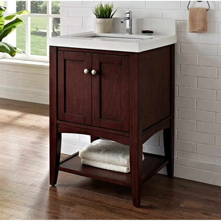 "Fairmont Designs Shaker Americana 24"" Vanity - Open Shelf for Quartz Top- Habana Cherry 1513-VH24"