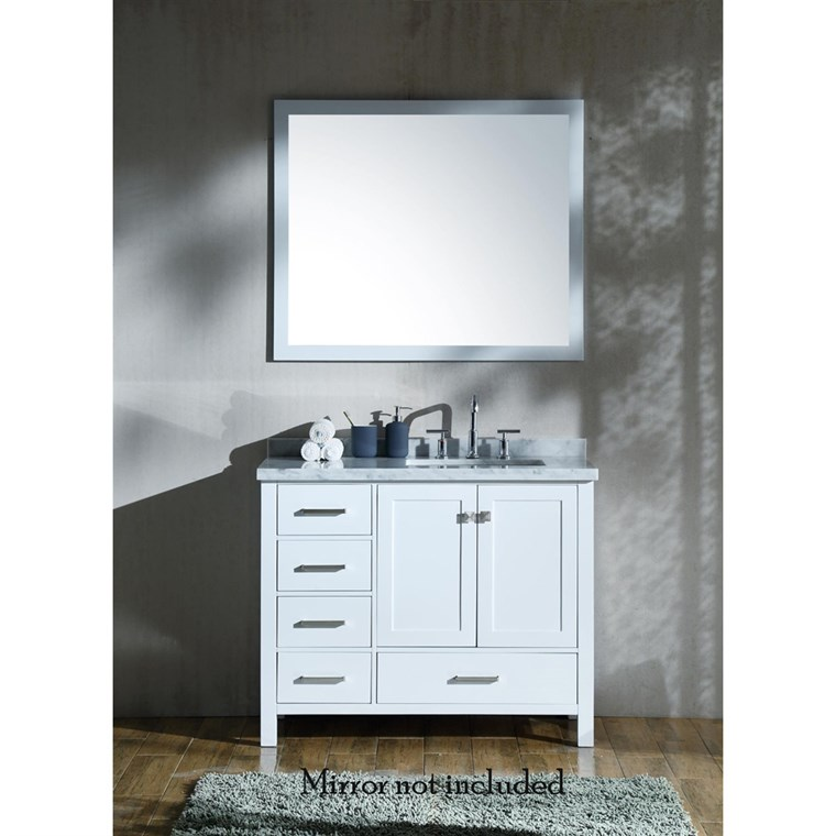 "Ariel Cambridge 43"" Single Sink Vanity with Right Offset Rectangle Sink and White Carrara Marble Countertop - White A043SRCWRVOWHT"