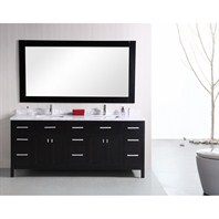 "Design Element London 78"" Modern Double Bathroom Vanity - Espresso DEC088"