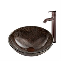 VIGO Copper Shield Glass Vessel Sink and Seville Faucet Set in Oil Rubbed Bronze Finish VGT886