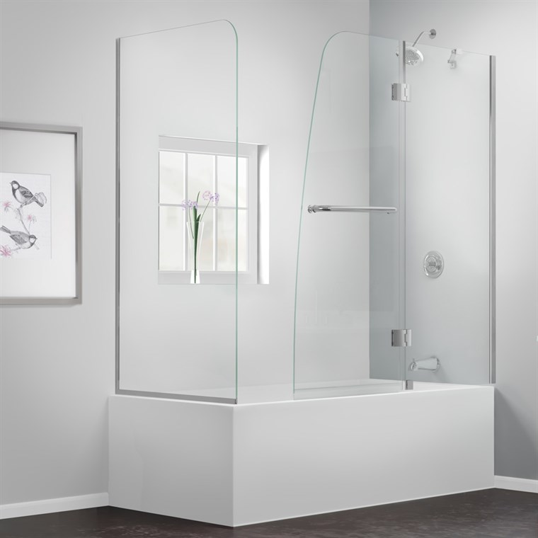 "Bath Authority DreamLine Aqua Frameless Hinged Tub Door (56"" - 60"") with Return Panel SHDR-3148586-RT"