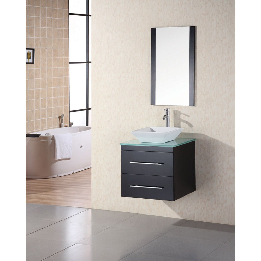 "Design Element Portland 24"" Wall Mount Bathroom Vanity - Espressonohtin"
