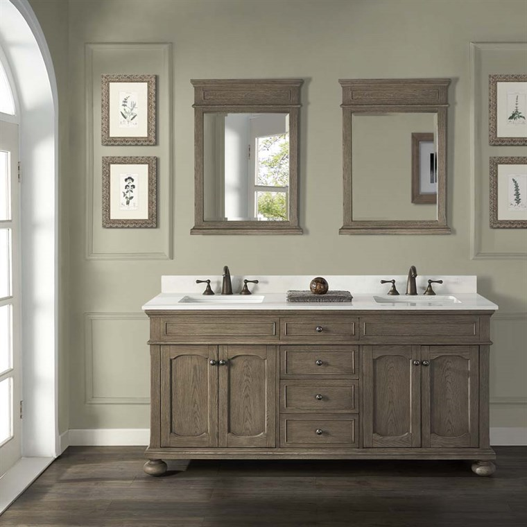 "Fairmont Designs Oakhurst 72"" Double Bowl Vanity - Antique Grey 1535-V7221D"