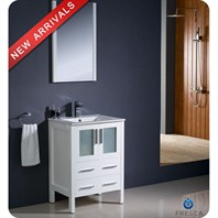 "Fresca Torino 24"" White Modern Bathroom Vanity with Integrated Sink FVN6224WH-UNS"